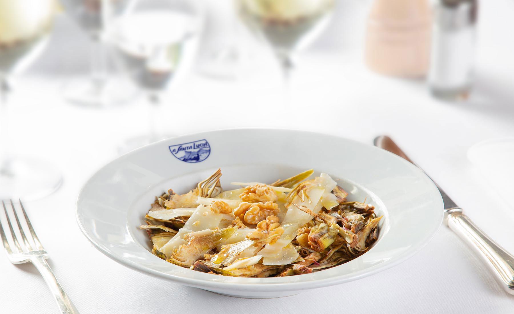Artichokes salad with parmesan and walnuts